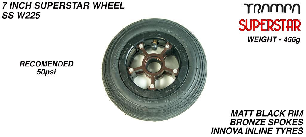 7 Inch Wheel - Matt Black Superstar Rim Bronze Anodised Spokes & Black 7 Inch Inline Tyre