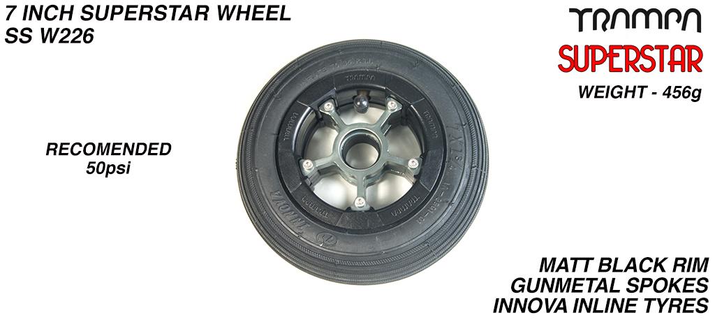 7 Inch Wheel - Matt Black Superstar Rim Gunmetal Anodised Spokes & Black 7 Inch Inline Tyre