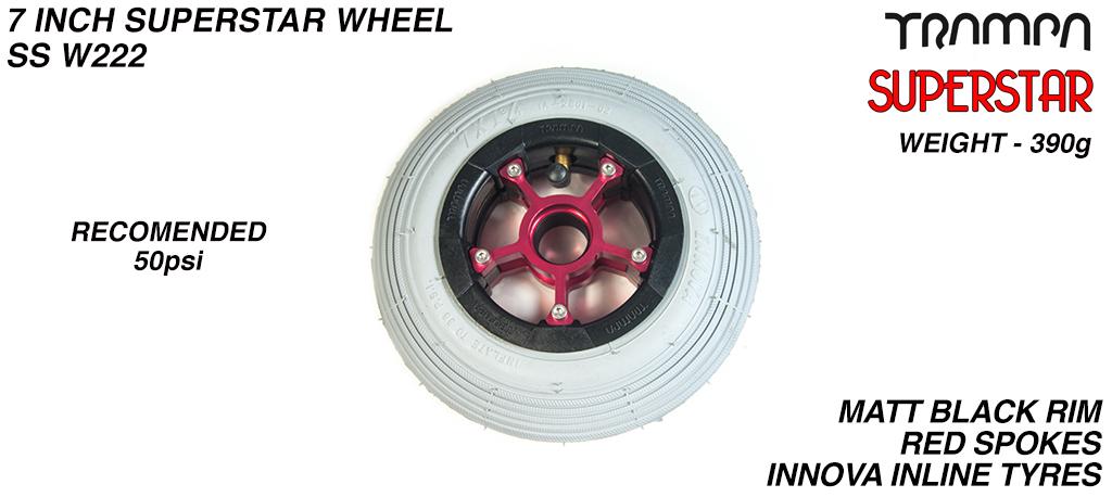 7 Inch Wheel - Matt Black Superstar Rim Red Anodised Spokes & Grey 7 Inch Inline Tyre