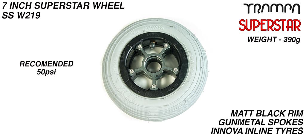 7 Inch Wheel - Matt Black Superstar Rim Gunmetal Anodised Spokes & Grey 7 Inch Inline Tyre