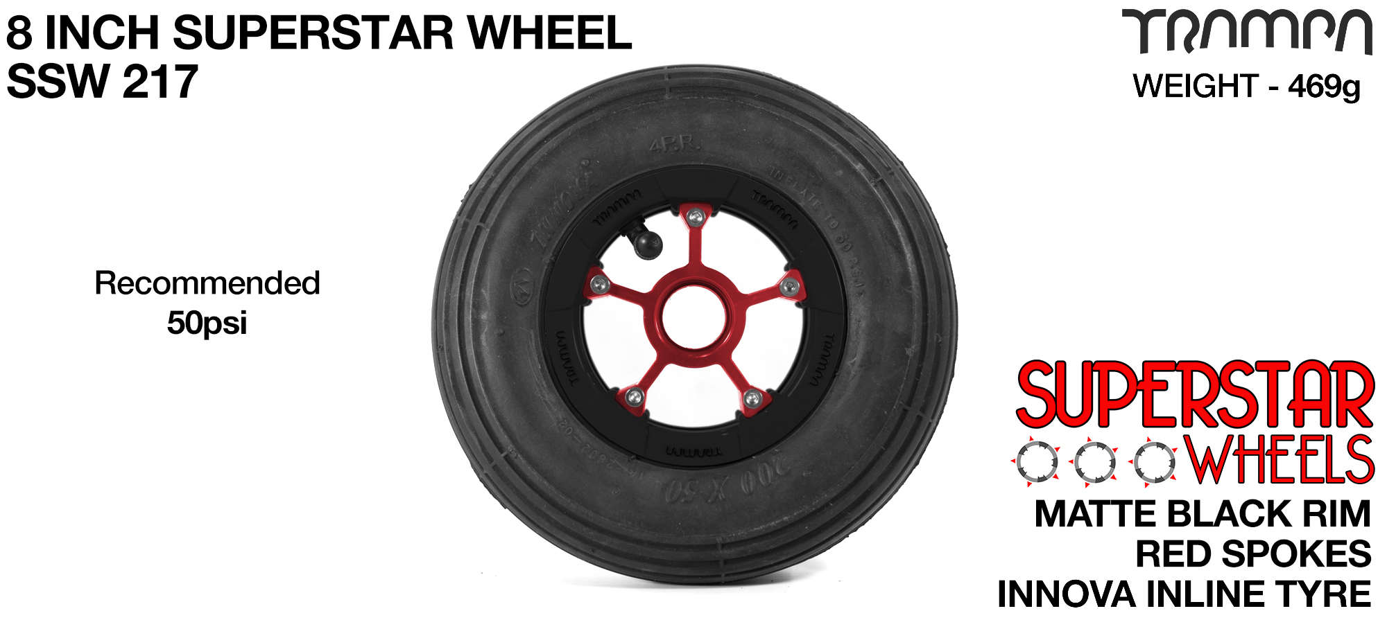 Superstar 8 Inch Wheel - Matt Black Superstar Rim Red Anodised Spokes & Black 8 Inch Inline Tyre