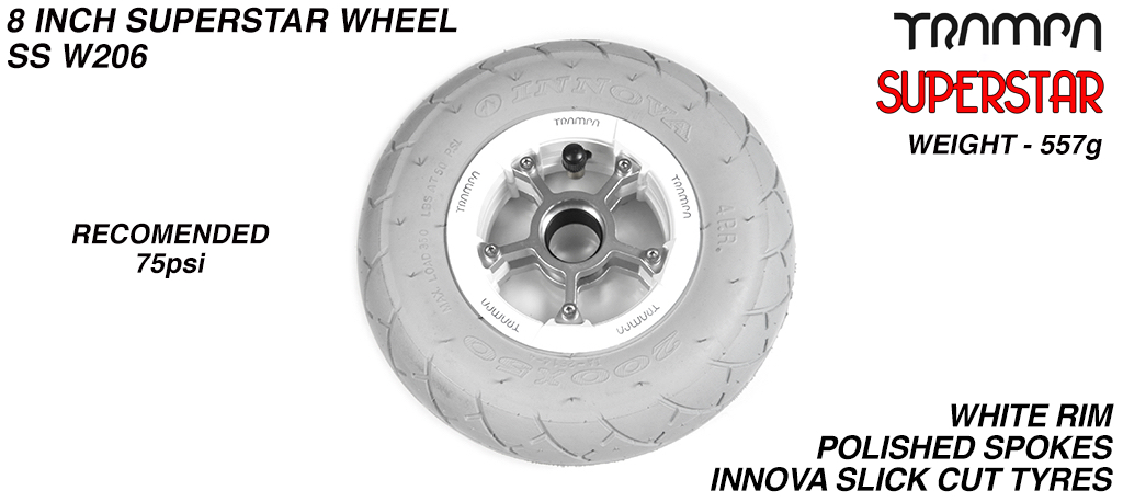 Superstar 8 inch wheels - Gloss White Superstar Rim with Silver Anodised spokes & GREY SLICK cut 8 inch Tyre