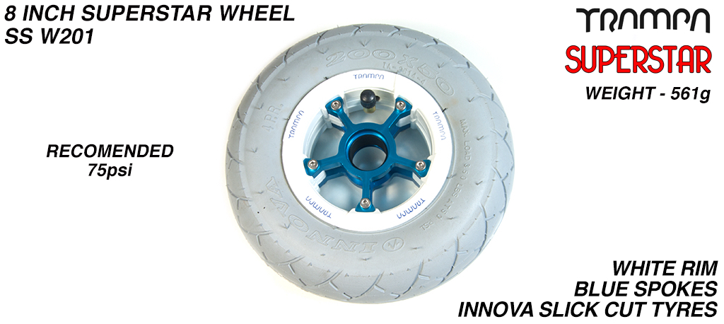 Superstar 8 inch wheels - Gloss White Superstar Rim with Blue Anodised spokes & Grey SLICK cut 8 inch Tyre