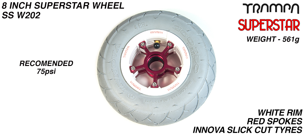 Superstar 8 inch wheel - Gloss White Superstar Rim with Red Anodised spokes & Black SLICK cut 8 inch Tyre