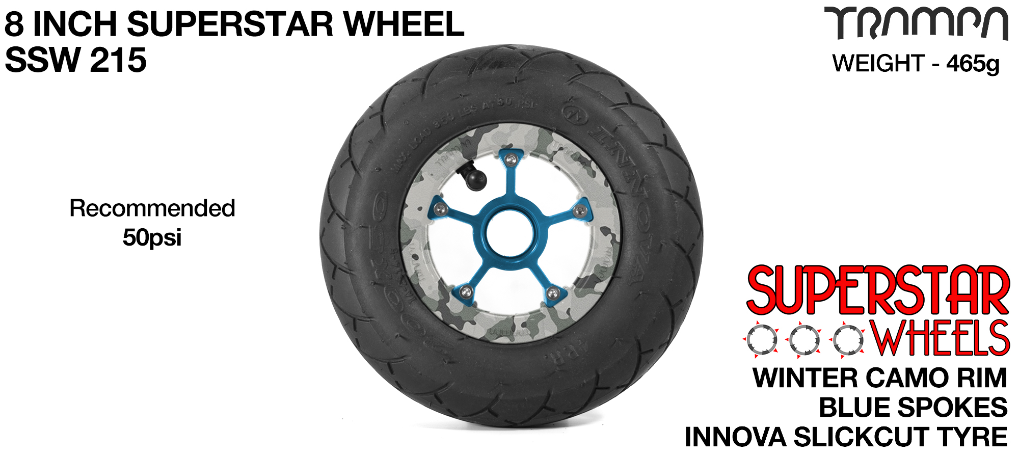 Superstar 8 inch wheels - Winter Camo Superstar Rim with Blue Anodised spokes & Black SLICKCUT 8 inch Tyre