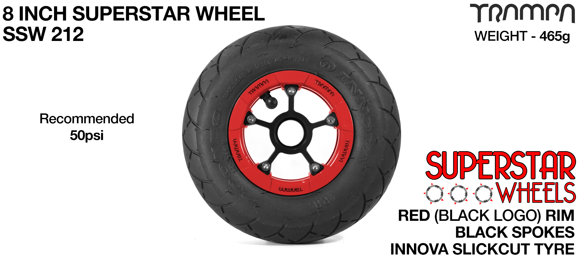 Superstar 8 inch wheels - Red Gloss Black Logo Superstar Rim with Black Anodised spokes & BLACK SLICKCUT 8 inch Tyre