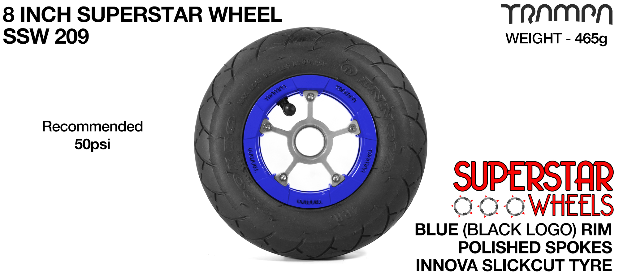 Superstar 8 inch wheels - Blue Gloss Black Logo Superstar Rim with Silver Anodised spokes & Black Slick Cut 8 inch Tyre