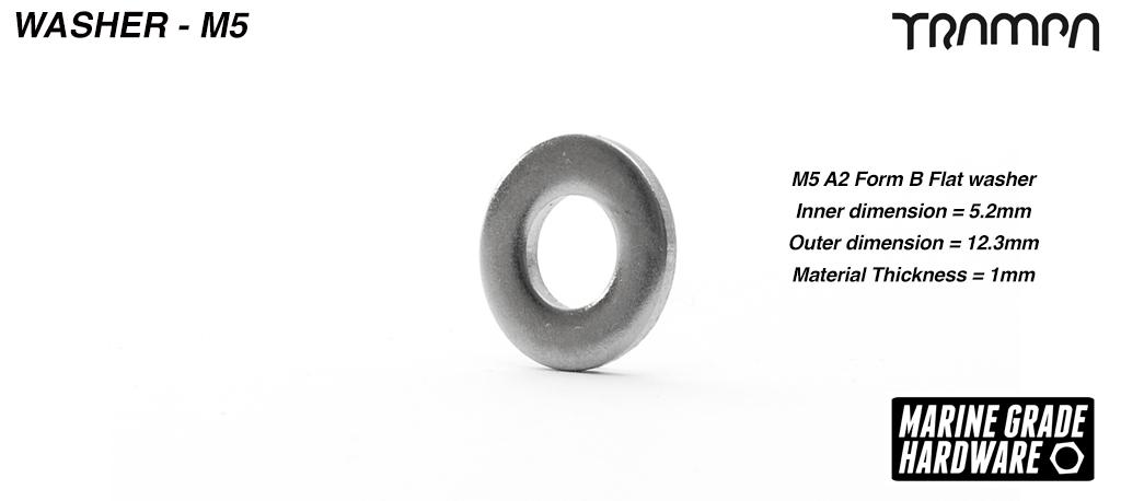 M5 Washer Marine Grade Stainless steel - Slim ISO 7089