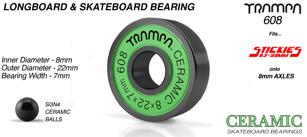CERAMIC Longboard & Skateboard Bearings (8 x 22 x 7mm) GREEN Sidewalls with Black Logo 608