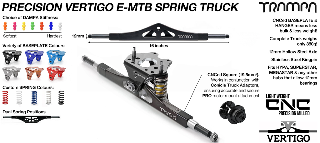 CNC Precision VERTIGO ATB Mountainboard TRUCK - 16.5 Inch Wide with 12mm Hollow Steel Axles Used when fixing Motor Mounts