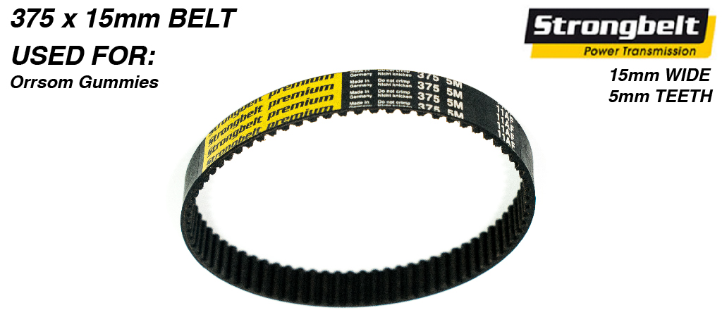 375mm long x 15mm wide High Torque Drive (HTD) 5M (5mm Tooth Spacing) High Power (HP) STRONGBELT for STREET CARVER Trucks #53 B
