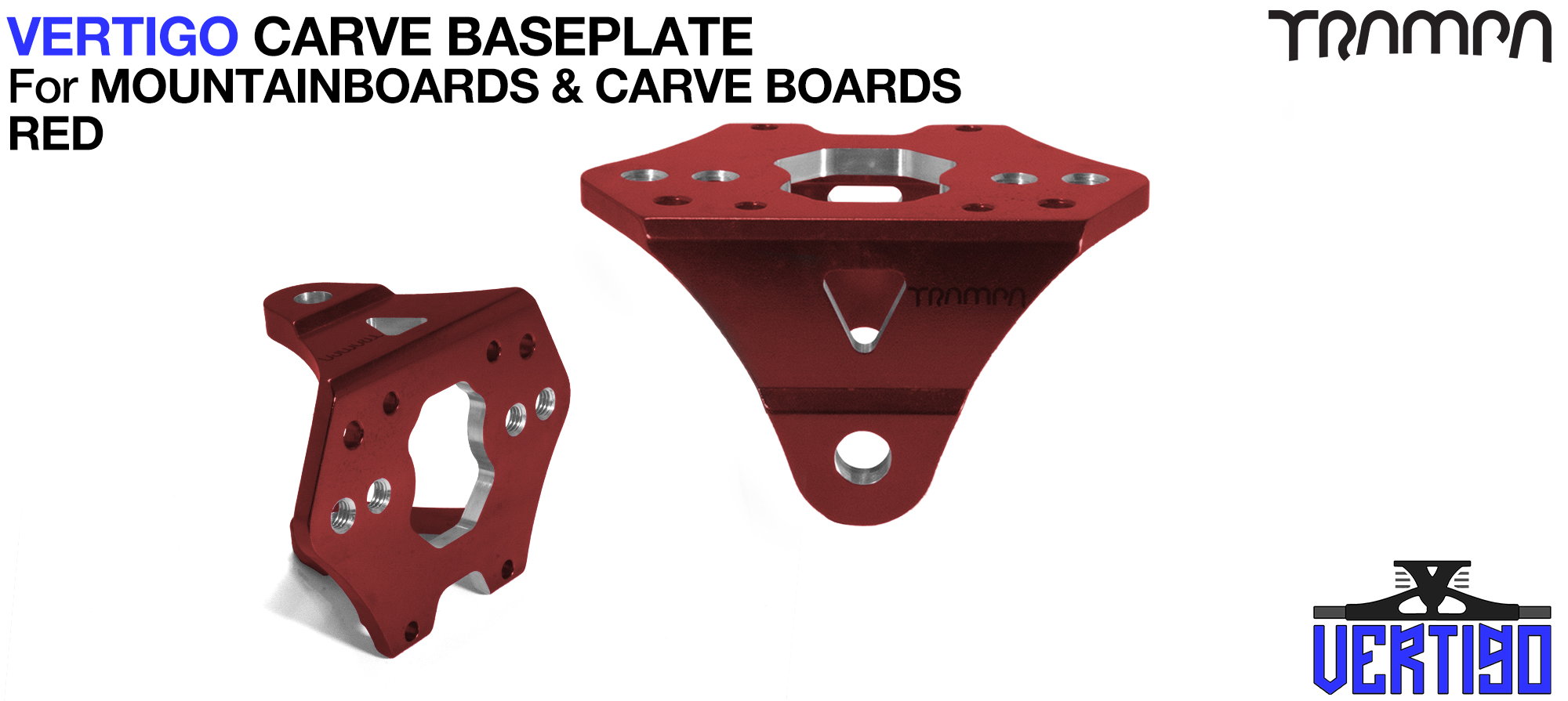 VERTIGO CARVE Baseplate RED - T6 Aluminum Powder coated & CNC lightened - Black logo