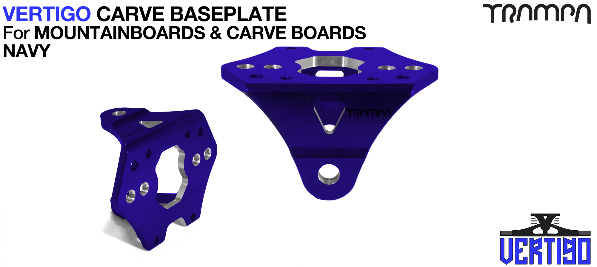 VERTIGO CARVE Baseplate NAVY - T6 Aluminum Powder coated & CNC lightened - Black logo