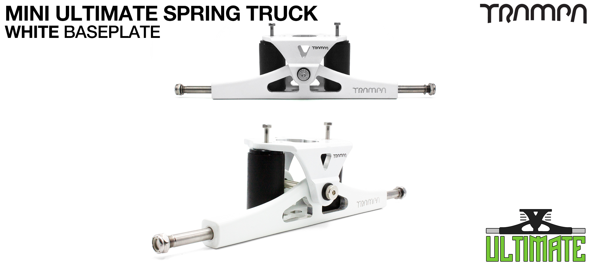 Mini ULTIMATE TRAMPA TRUCKS - CNC FORGED Channel Hanger with 9.525mm TITANIUM Axle CNC Baseplate TITANIUM Kingpin - WHITE