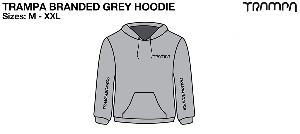 GREY GILDAN Heavy Weight Hoodie with Black TRAMPA Logos