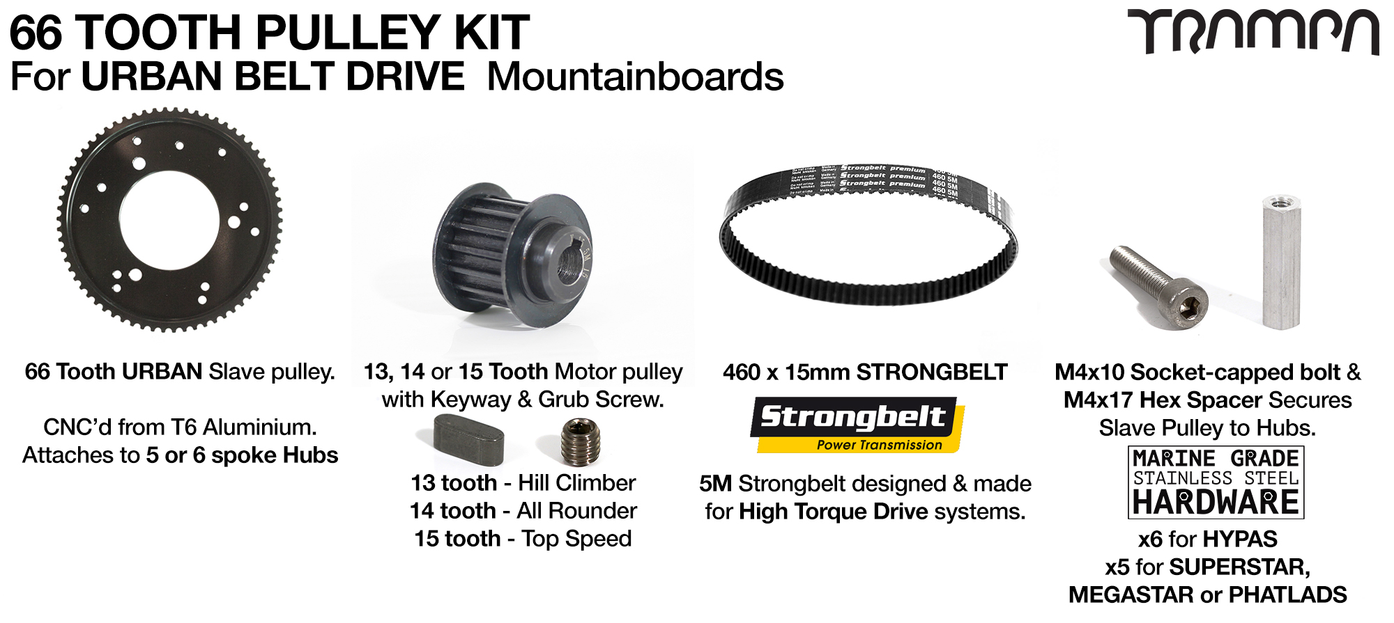 URBAN MTB Pulley Kit with 66 Tooth Slave & 460mm BELT for 7 or 8 Inch Wheels on HYPA or SUPERSTAR hubs