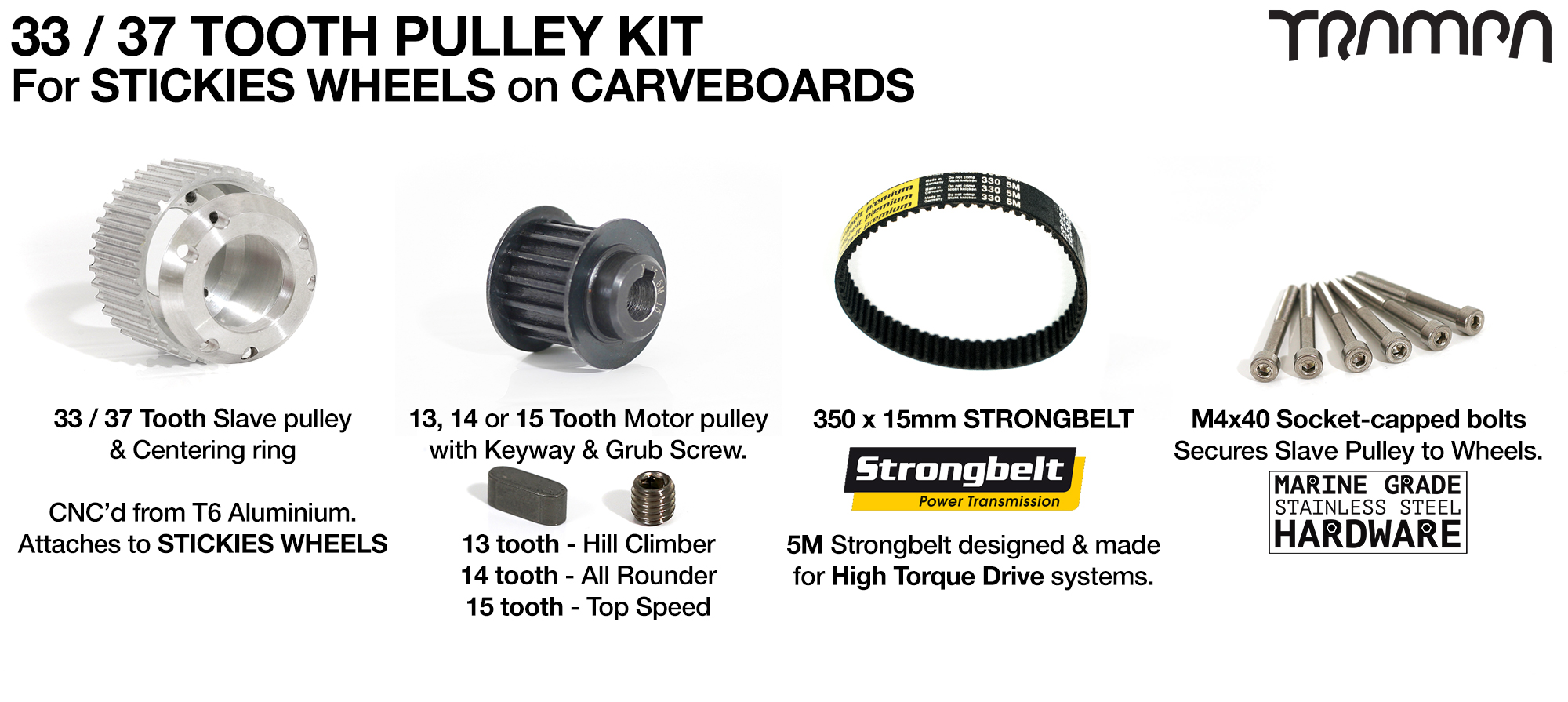 STREET CARVER 33 or 37 Tooth Pulley Kit with 330mm x 15mm Belt for STICKIES Wheels