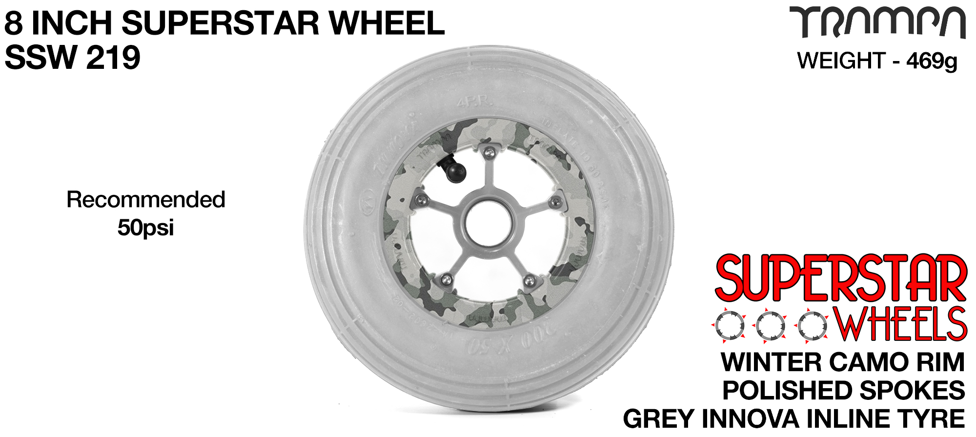 8 Inch Wheel - Winter Camo Superstar Rim Silver Anodised Spokes & Grey 8 Inch Inline Tyre