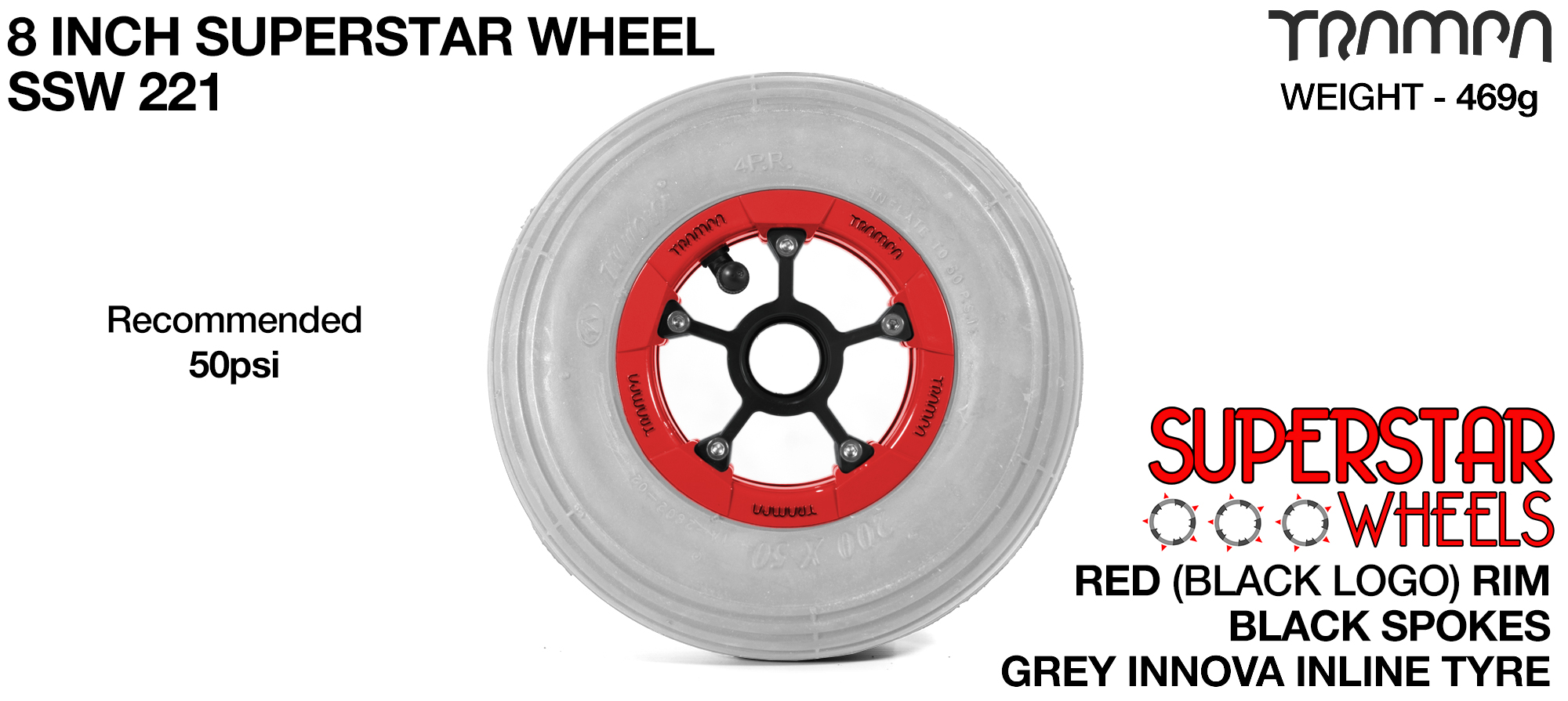 8 Inch Wheel - Red Superstar Rim Black Anodised Spokes & Grey 8 Inch Inline Tyre