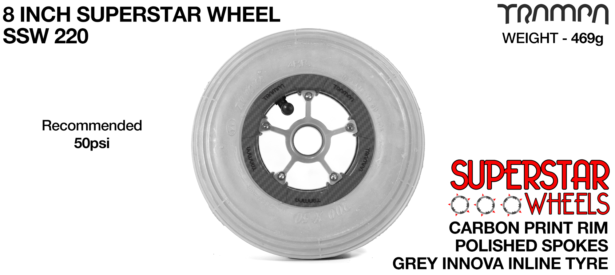 Superstar 8 Inch Wheel - Carbon Superstar Rim Silver Anodised Spokes & Grey 8 Inch Inline Tyre