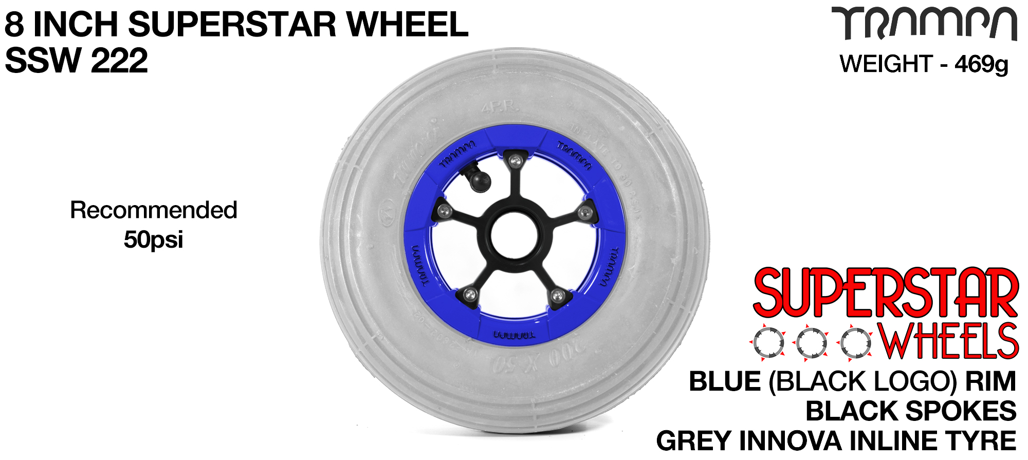 Superstar 8 Inch Wheel - Blue Superstar Rim Black Anodised Spokes & Grey 8 Inch Inline Tyre (COPY)