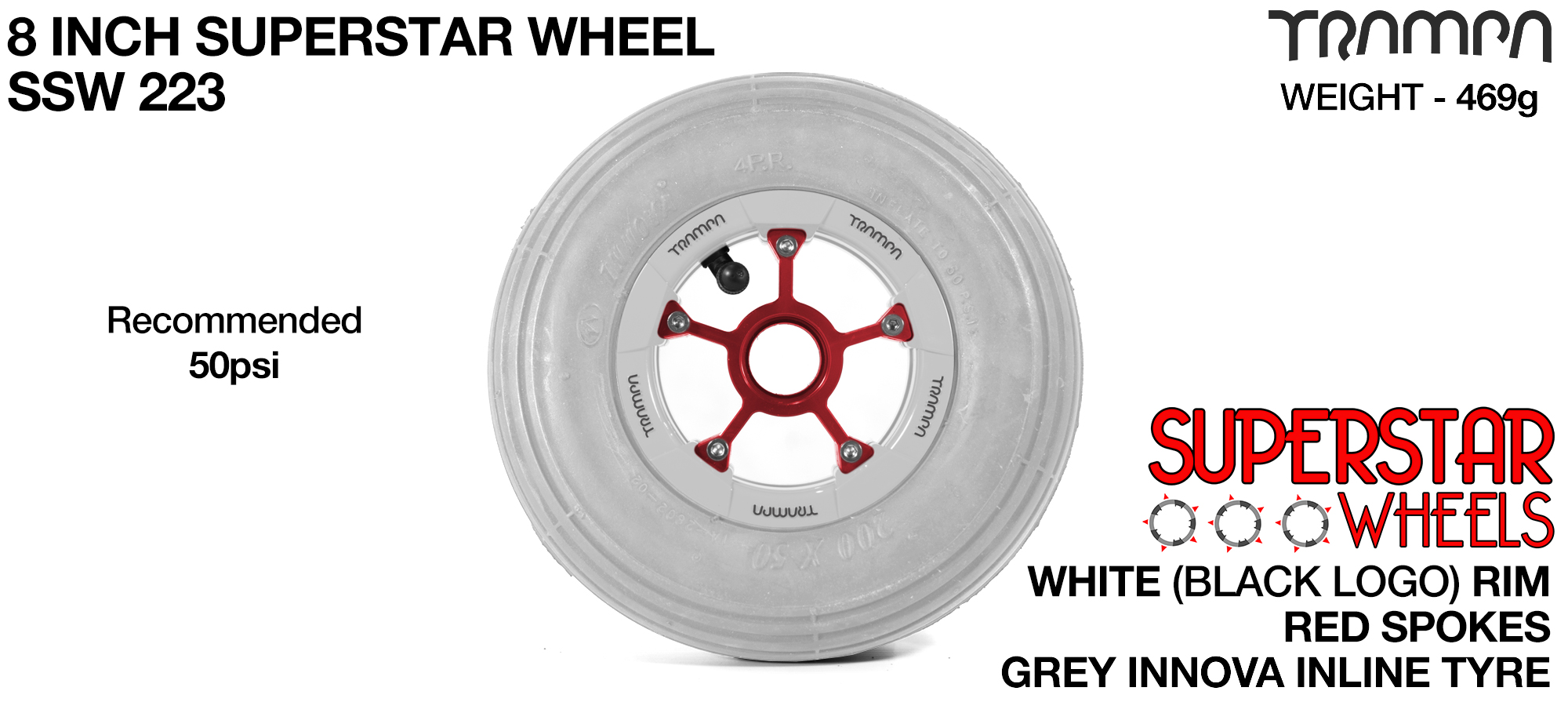 Superstar 8 Inch Wheel - White Superstar Rim Red Anodised Spokes & Grey 8 Inch Inline Tyre