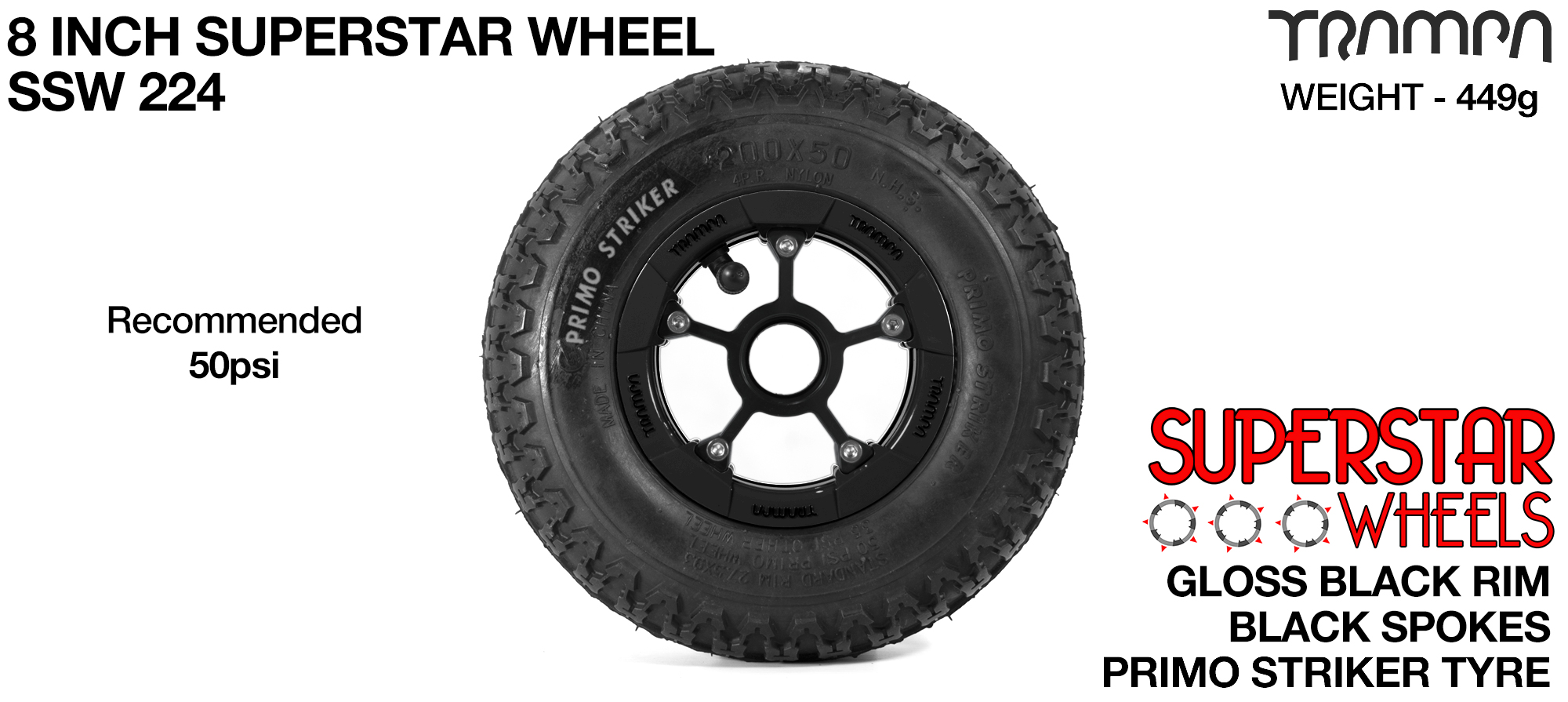 Superstar 8 Inch Wheel - Black Superstar Rim Black Anodised Spokes & Primo Striker 8 Inch Tyre