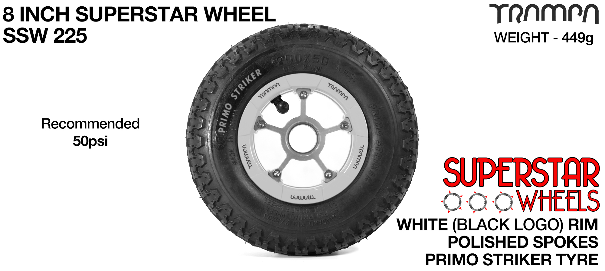 8 Inch Wheel - White Superstar Rim Polished Anodised Spokes & Primo Striker 8 Inch Tyre