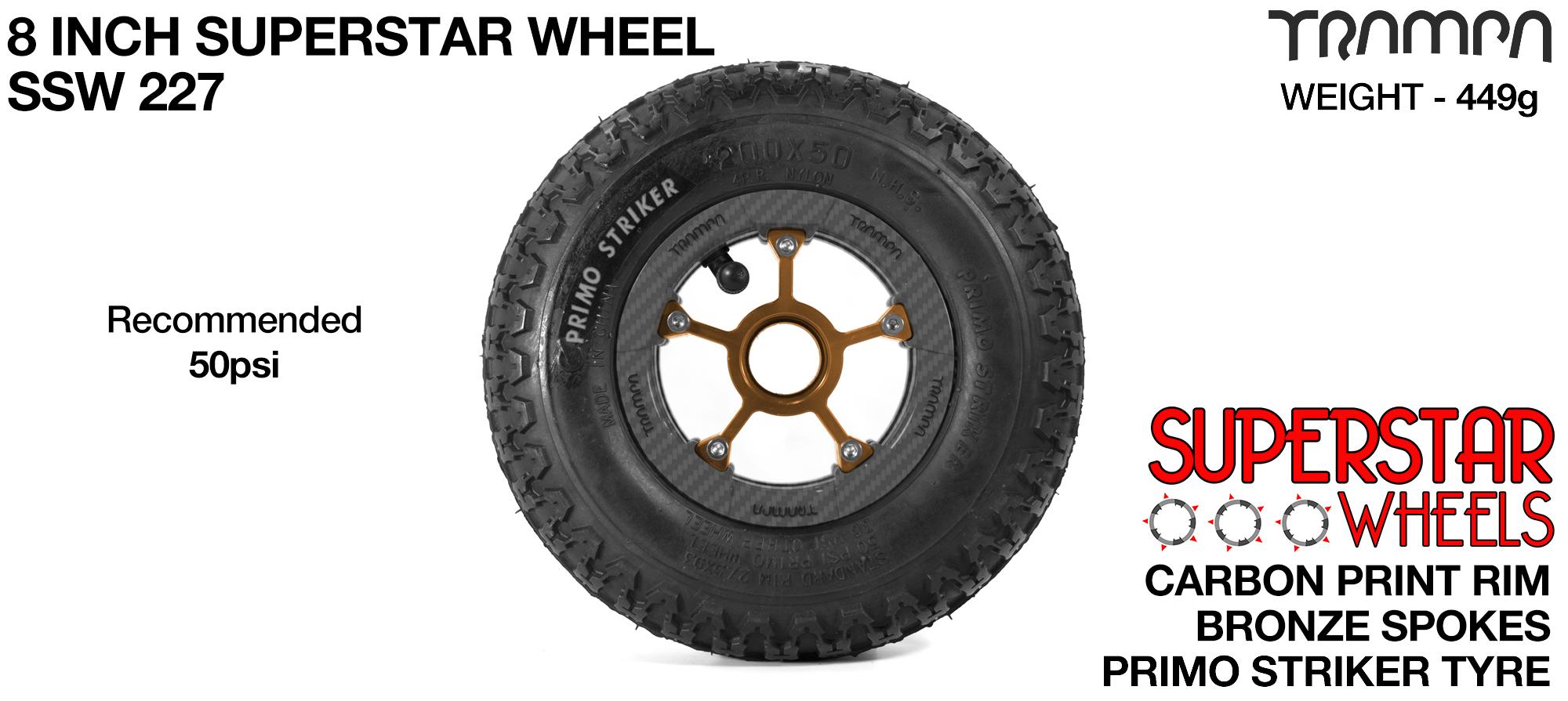 Superstar 8 Inch Wheel - Carbon Superstar Rim Bronze Anodised Spokes & Primo Striker 8 Inch Tyre