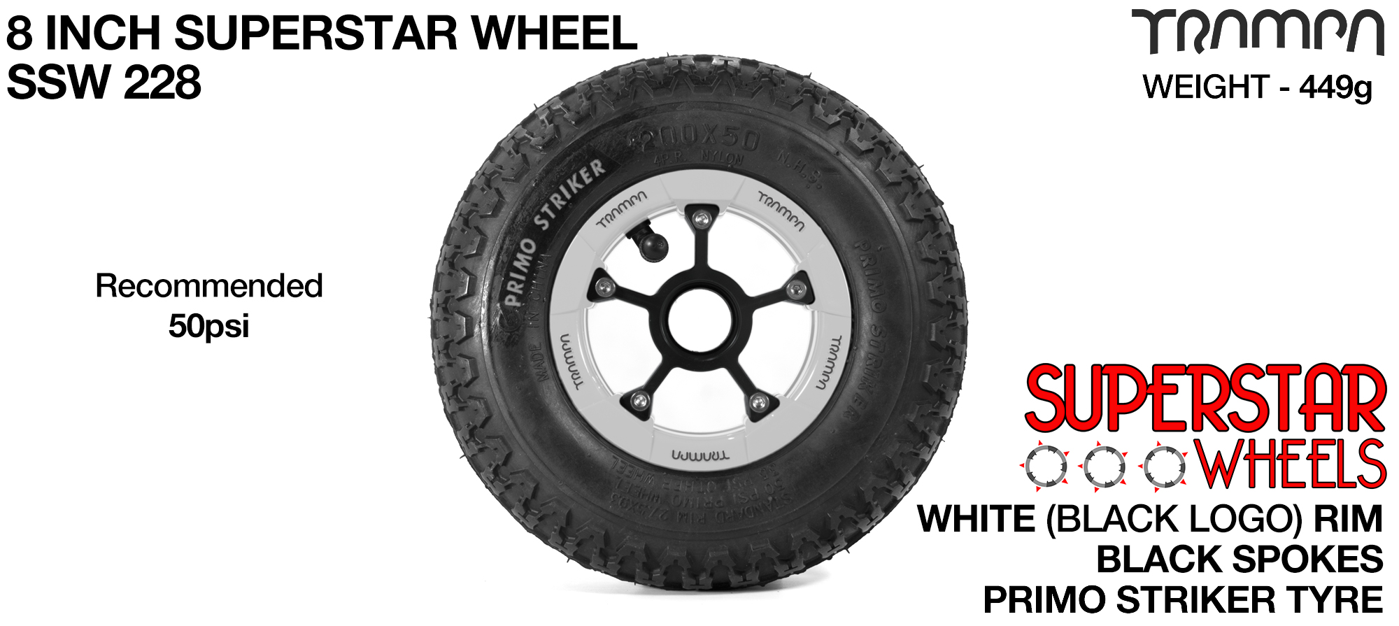 8 Inch Wheel - White Superstar Rim Black Anodised Spokes & Primo Striker 8 Inch Tyre