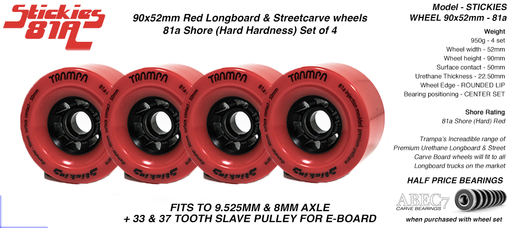 STICKIES Longboard & Street Carver Wheels - 90 x 52mm - 81a Regular Urethane RED x4
