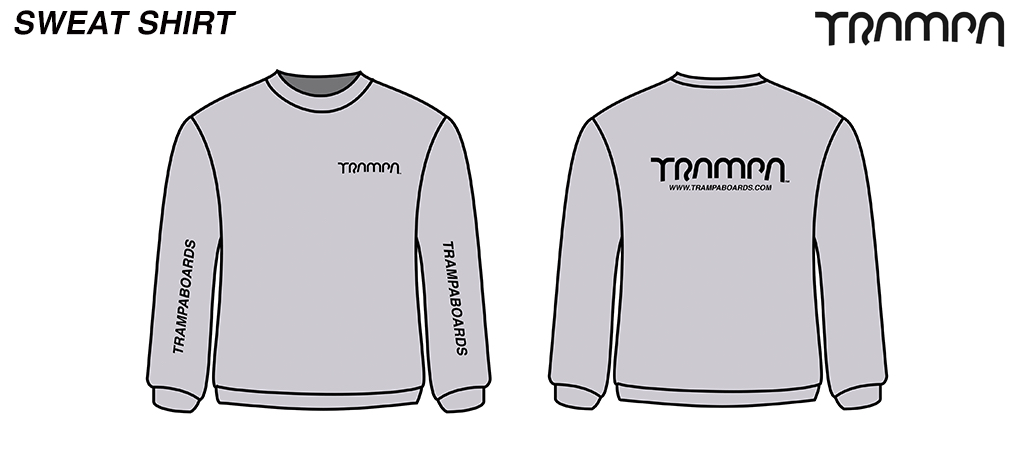 Grey with Black TRAMPA Logos Round neck HEAVY WEIGHT Sweatshirt by GILDAN
