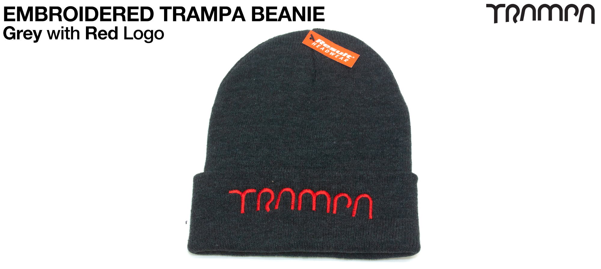 Grey Woolie hat with White TRAMPA logo