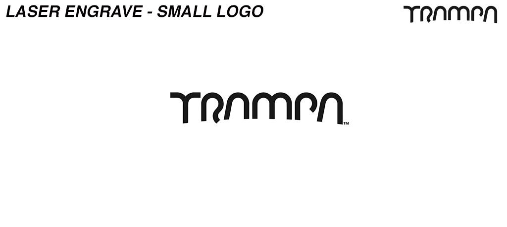 Laser Engraved TRAMPA logo on Front of garment