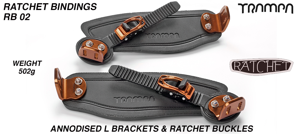 Ratchet Bindings - Black straps on Black Foam with BRONZE L Brackets & Ratchets