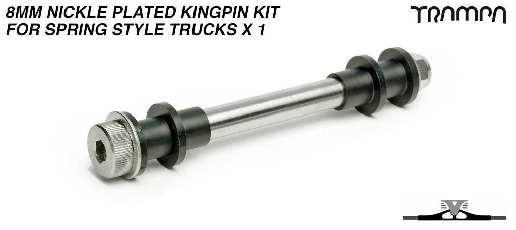 8mm Nickle Plated Kingpin kit for Spring style Trucks x 1