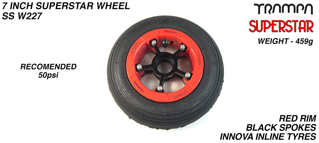 7 Inch Wheel - Red Gloss Superstar Rim Black Anodised Spokes & Black 7 Inch Inline Tyre