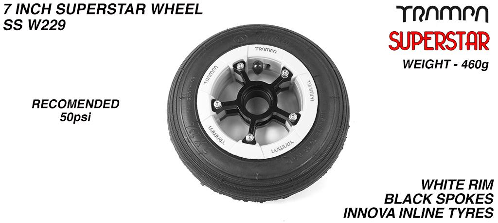 7 Inch Wheel - White Gloss Superstar Rim Black Anodised Spokes & Black 7 Inch Inline Tyre
