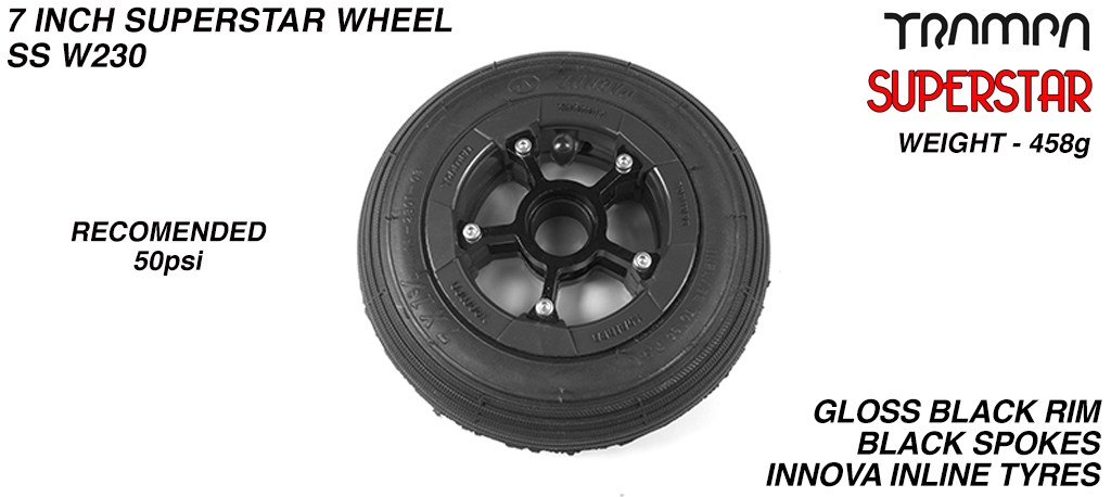 7 Inch Wheel - Black Gloss Superstar Rim Black Anodised Spokes & Black 7 Inch Inline Tyre