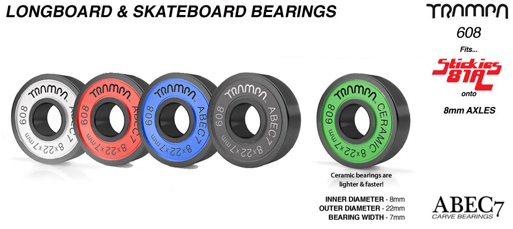 Longboard & Skateboard Bearings (8 x 22 x 7mm) Red Black Blue White or GREEN Ceramic sidewalls ABEC 7 608