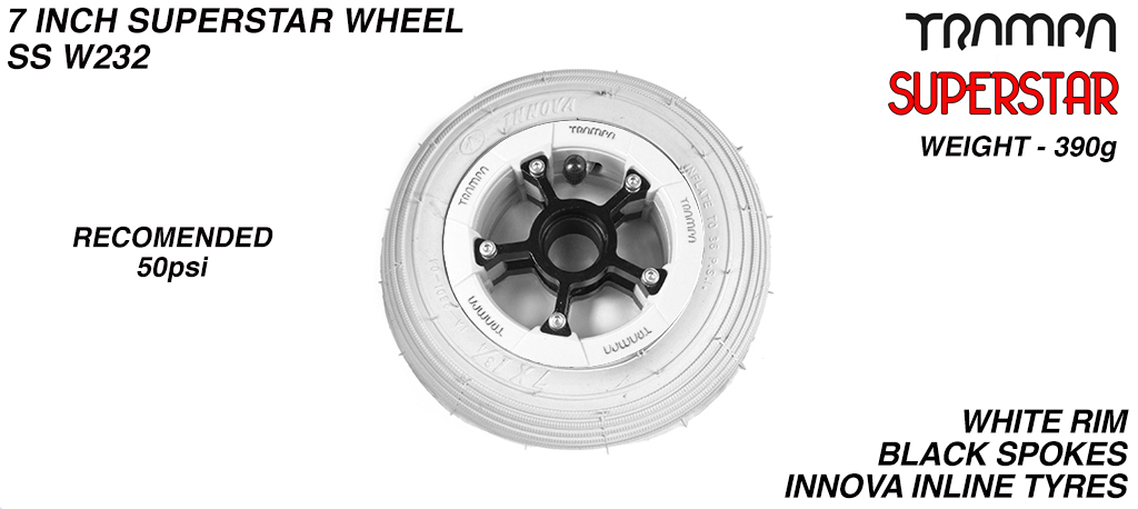 7 Inch Wheel - White Gloss Superstar Rim Black Anodised Spokes & Grey 7 Inch Inline Tyre