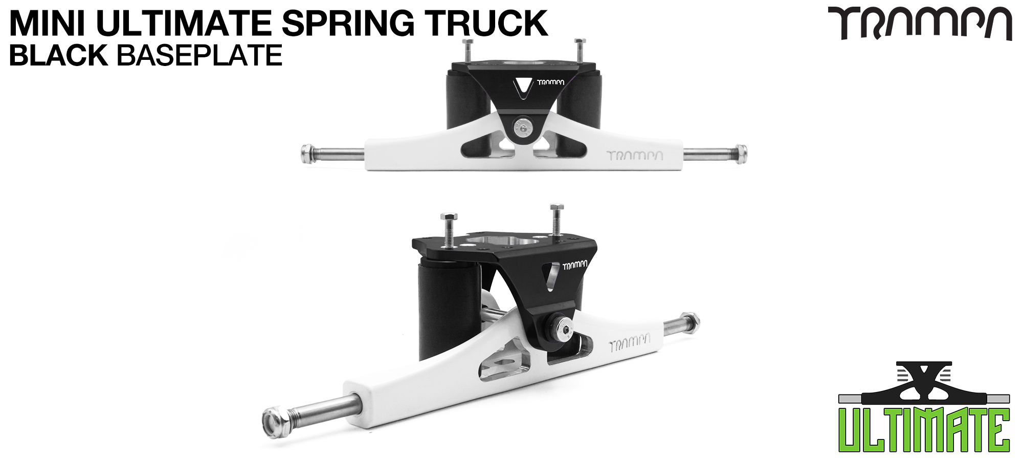 Mini ULTIMATE TRAMPA TRUCKS - CNC FORGED Channel Hanger with 9.525mm TITANIUM Axle CNC Baseplate TITANIUM Kingpin - BLACK