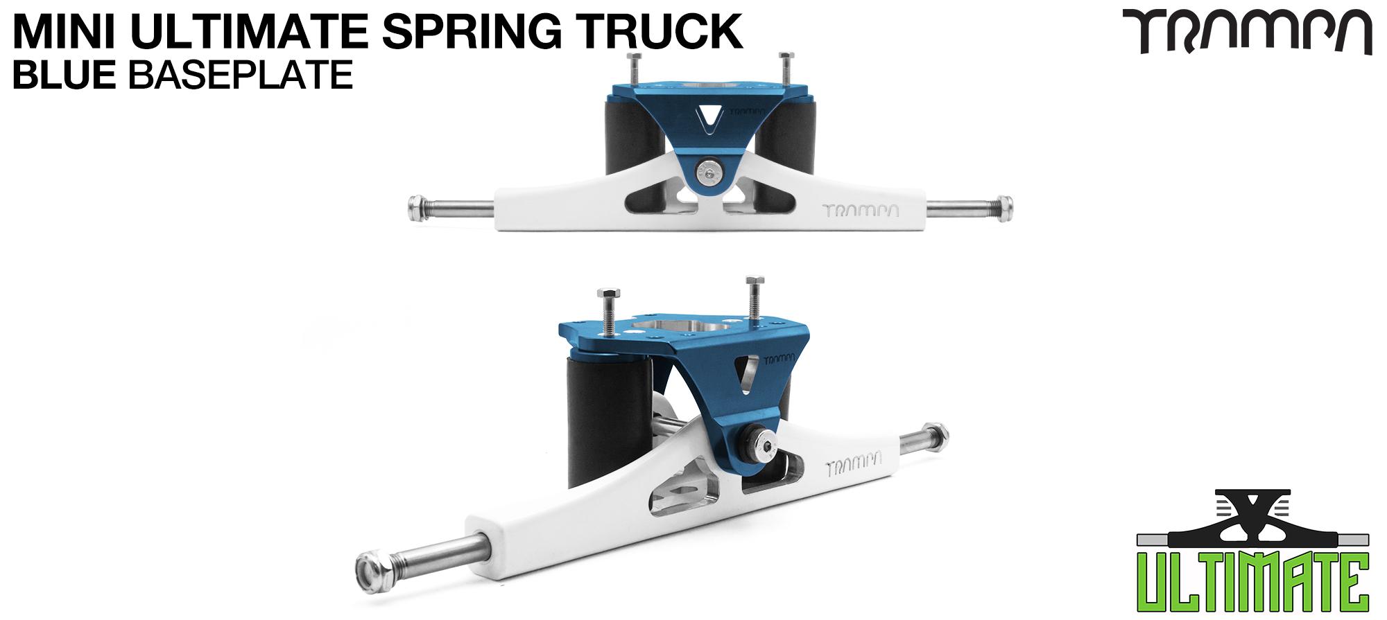 Mini ULTIMATE TRAMPA TRUCKS - CNC FORGED Channel Hanger with 9.525mm TITANIUM Axle CNC Baseplate TITANIUM Kingpin - BLUE