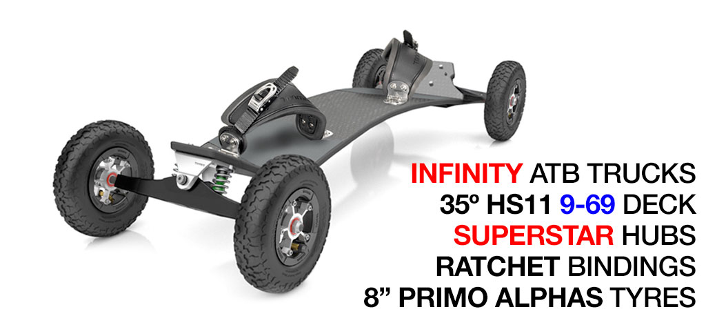 35º TRAMPA deck on INFINITY Trucks with SUPERSTAR Wheels & RATCHET Bindings - 607 SILVER Electric MOUNTAINBOARD