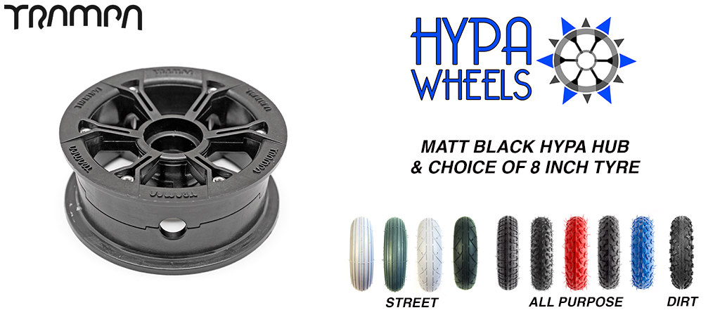Matt Black Hypa hub & Custom 8 inch Tyre for Electric Decks