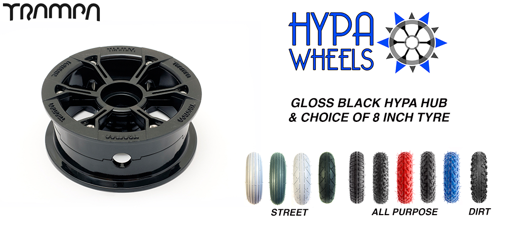 Gloss Black Hypa hub & Custom Tyre for Electric Decks