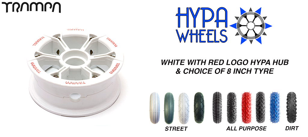 Gloss White with RED Logos Hypa hub & Custom Tyre