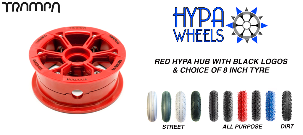 RED Gloss Hypa hub & Custom Tyre