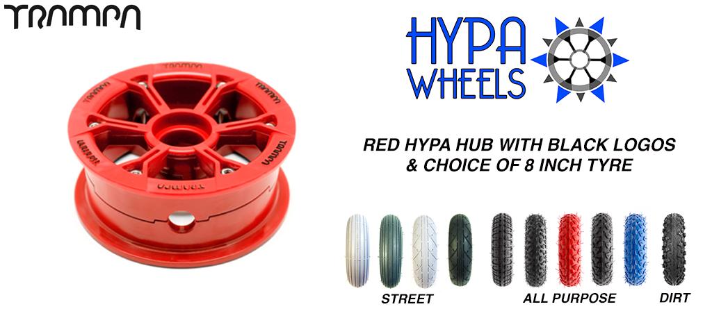 RED Gloss Hypa hub & Custom Tyre