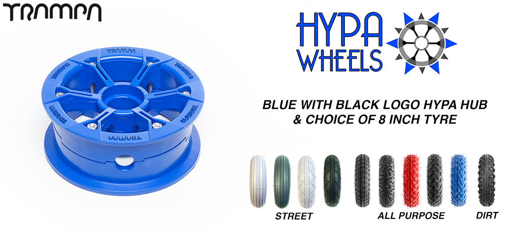 BLUE Gloss with Black Logo Hypa hub & Custom Tyre
